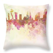 Barcelona Skyline In Watercolour Background  Throw Pillow