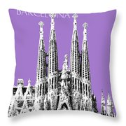Barcelona Skyline La Sagrada Familia - Violet Throw Pillow