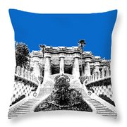 Barcelona Skyline Park Guell - Blue Throw Pillow
