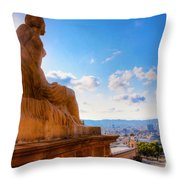Barcelona View From Catalunya National Museum Of Art Throw Pillow