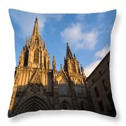 Barcelona's Marvelous Architecture - Cathedral Of The Holy Cross And Saint Eulalia Throw Pillow