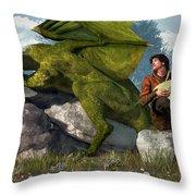 Bard And Dragon Throw Pillow by Daniel Eskridge