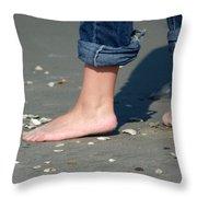 Barefoot On The Beach Throw Pillow