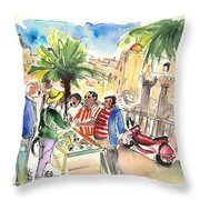Bargaining Tourists In Siracusa Throw Pillow