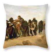 Barge Haulers On The Volga Throw Pillow