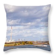Barges On River Rhine At Duisburg Germany Europe Throw Pillow