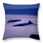 Barges On The Mississippi Throw Pillow