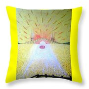 Barley Bridge In Wheat-shire Throw Pillow