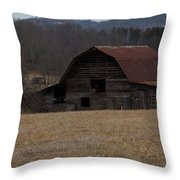 Barn Across The Field Throw Pillow