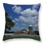 Farm Along The River Throw Pillow