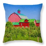Barn And Apple Orchard Throw Pillow