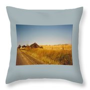 Barn And Corn Field Throw Pillow