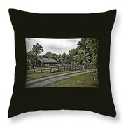 Barn And Corral Throw Pillow by Guy Shultz