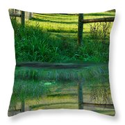 Barn And Fence Throw Pillow