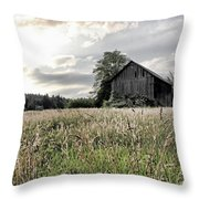 Barn And Grass Throw Pillow