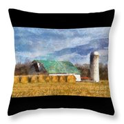 Barn And Silo In West Virginia Throw Pillow