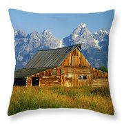 1m9394-barn And The Tetons Throw Pillow