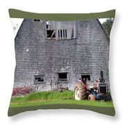 Barn And Tractor Pei Throw Pillow
