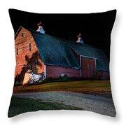 Barn At Night Throw Pillow
