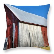 Barn By Side Of Road Throw Pillow