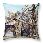 Barn By The Tree Throw Pillow