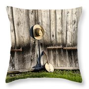 Barn Door And Banjo Mandolin Throw Pillow by Bill Cannon