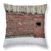 Barn Door In Winter Throw Pillow