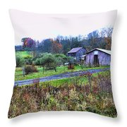 Barn - End Of The Road Throw Pillow