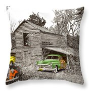 Barn Finds Classic Cars Throw Pillow by Jack Pumphrey