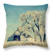 Barn Frosty Trees Throw Pillow by Julie Hamilton