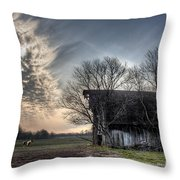 Barn In A Field With A Horse Throw Pillow