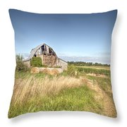 Barn In A Field With Hay Bales Throw Pillow