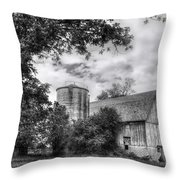 Barn In Black And White Throw Pillow