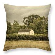 Barn In Corn Field Throw Pillow