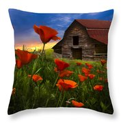 Barn In Poppies Throw Pillow