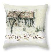 Barn In Snow Christmas Card Throw Pillow
