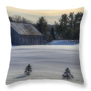 Barn In Snow In Color Throw Pillow by Donna Doherty