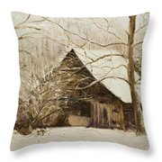 Barn In Snow Throw Pillow