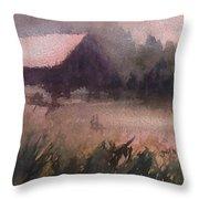 Barn In The Fog Throw Pillow