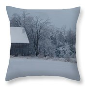 Barn In The Long Wait Throw Pillow