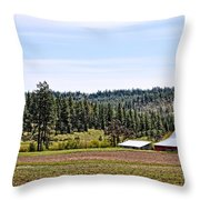 Barn In The Trees Throw Pillow