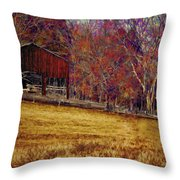 Barn In The Woods-featured In Barns Big And Small Group Throw Pillow