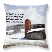 Barn In Winter With Psalm Scripture Throw Pillow