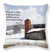 Barn In Winter With Scripture Throw Pillow