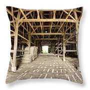 Barn Interior Throw Pillow