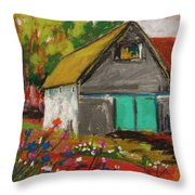 Barn Off From The Garden Throw Pillow