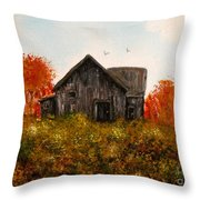 Barn Old Rusted And Deserted Throw Pillow