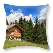 barn on Alpine pasture Throw Pillow