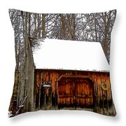 Barn On Great Hill Road Throw Pillow