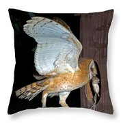 Barn Owl With Rat Throw Pillow